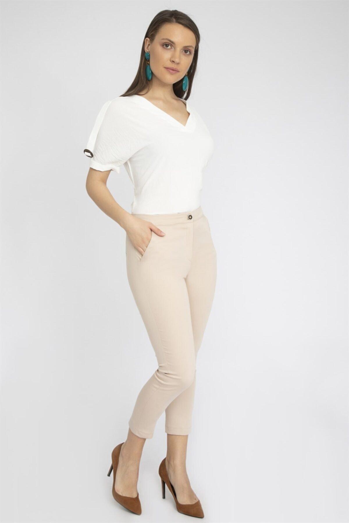 Chima Kadın Bej Slim Fit Pantolon Y19Pa223 2