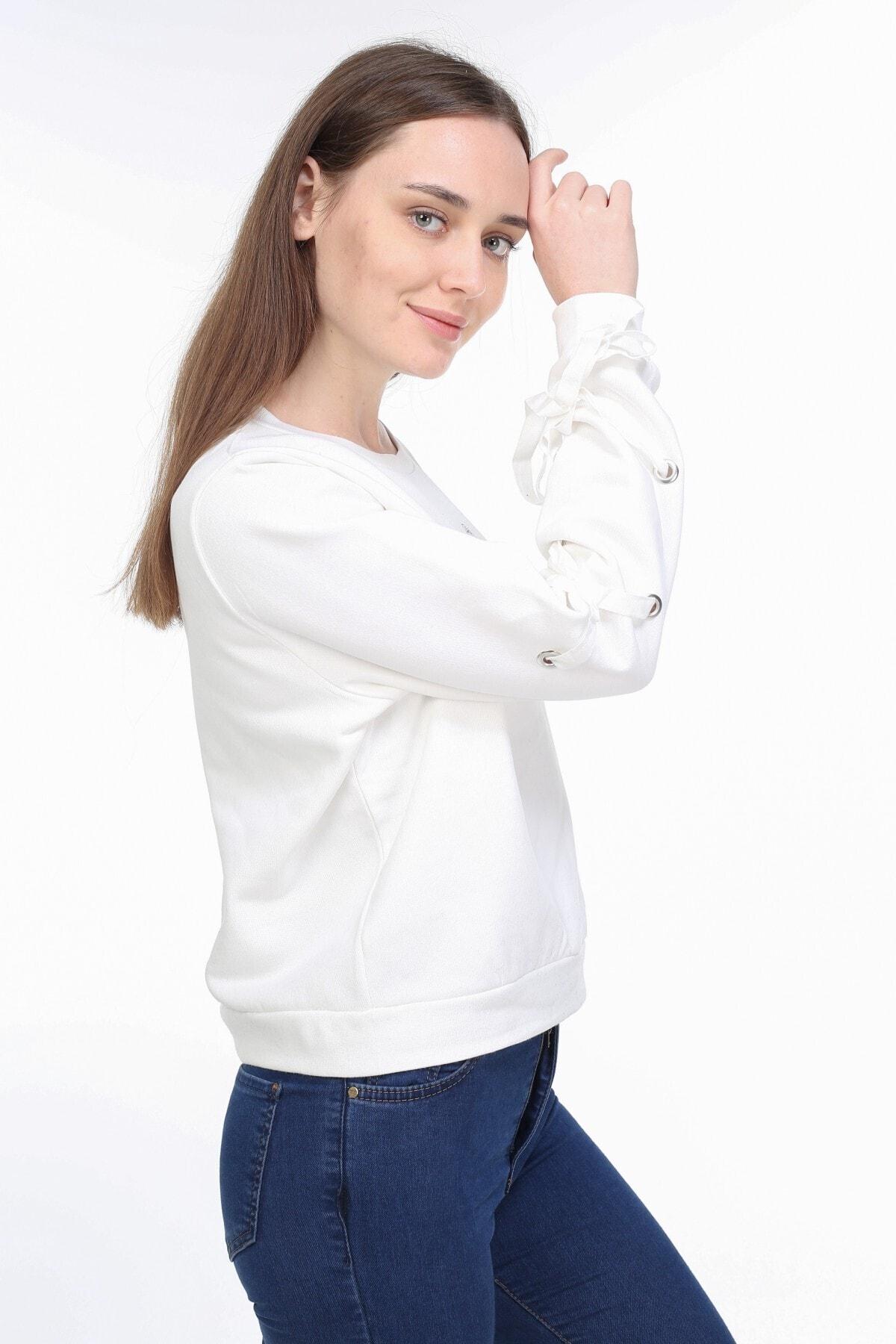 PARPALİ Kadın Ekru Kol Detaylı Mini Bel Üstü Taşlı Baskılı Pamuklu Kelebek Sweatshirt 2