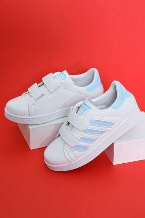 epaavm Beyaz Yanı Mavi Şeritli Çocuk Ayakkabı