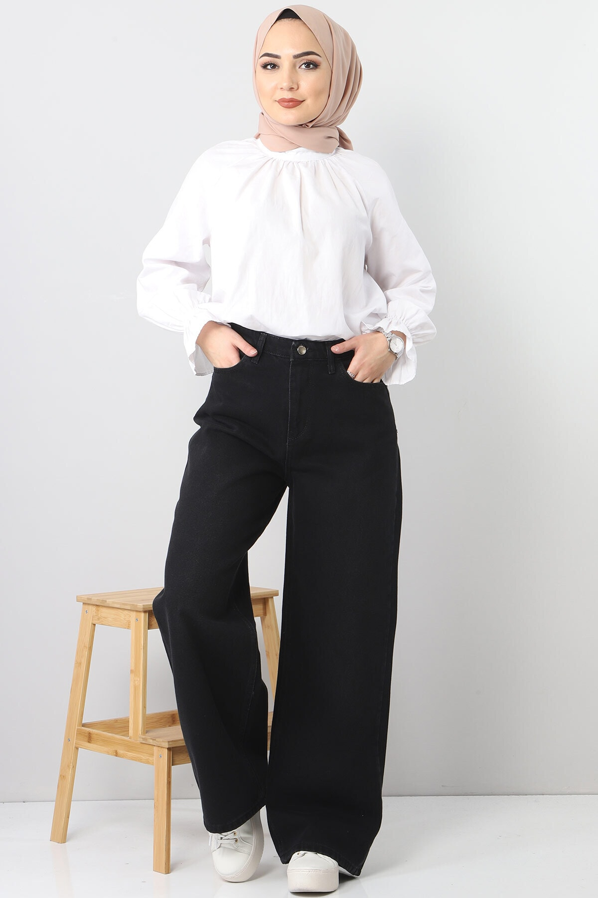 Tesettür Dünyası Bol Paça Kot Pantolon Tsd22007 Siyah 1