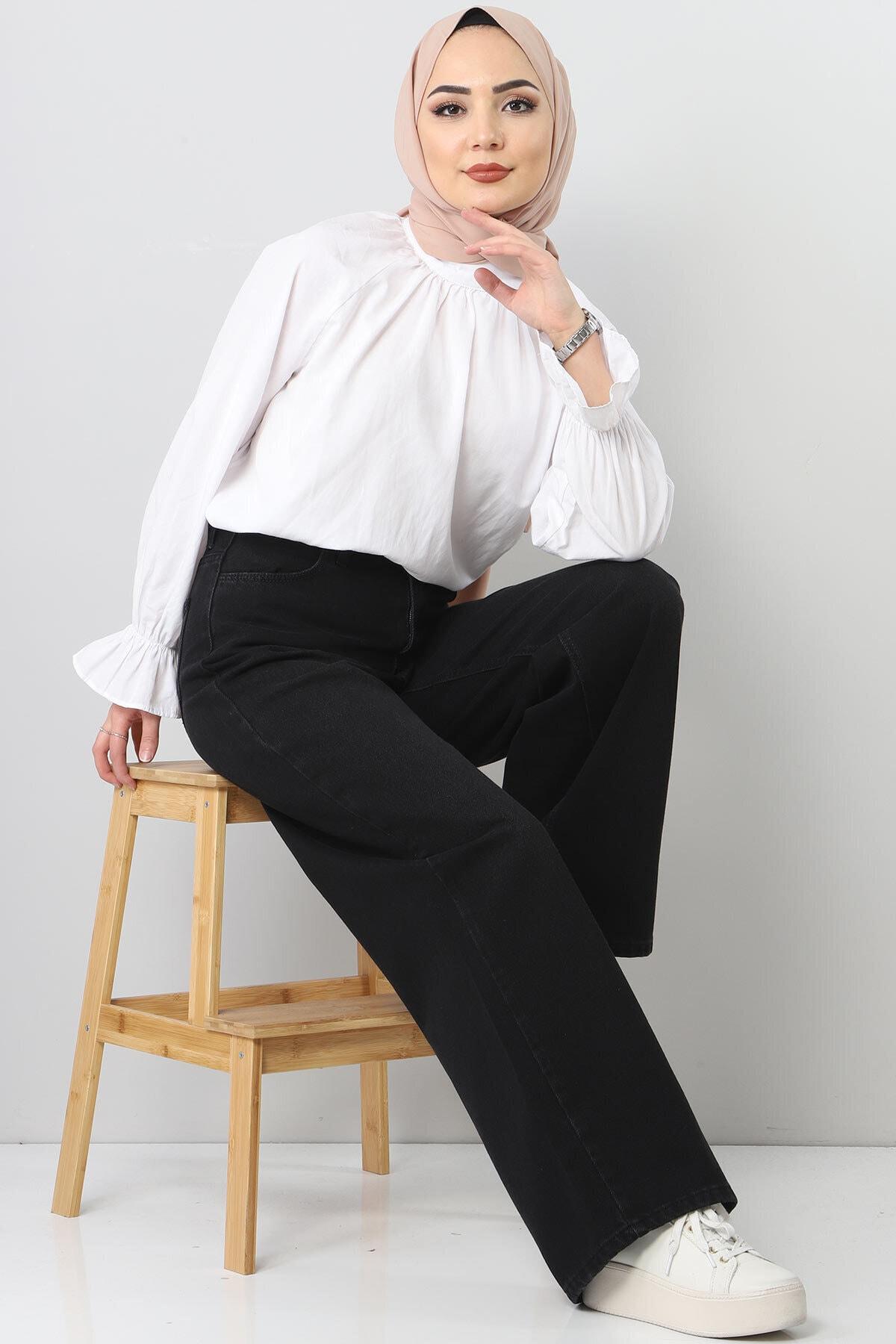 Tesettür Dünyası Bol Paça Kot Pantolon Tsd22007 Siyah 2