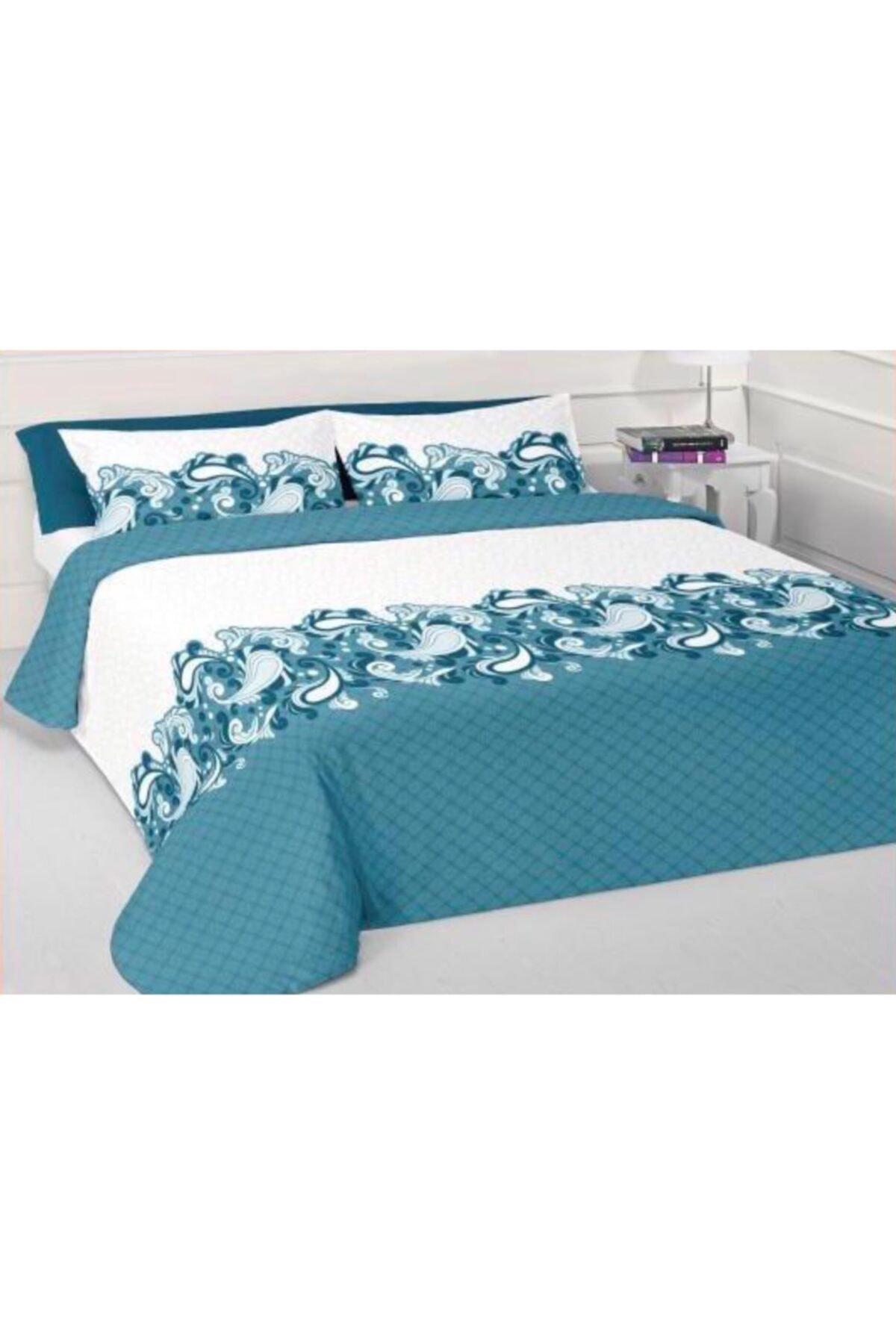 OBJE HOME Mavi Çift Kişilik Pamuklu Yatak Örtüsü 1