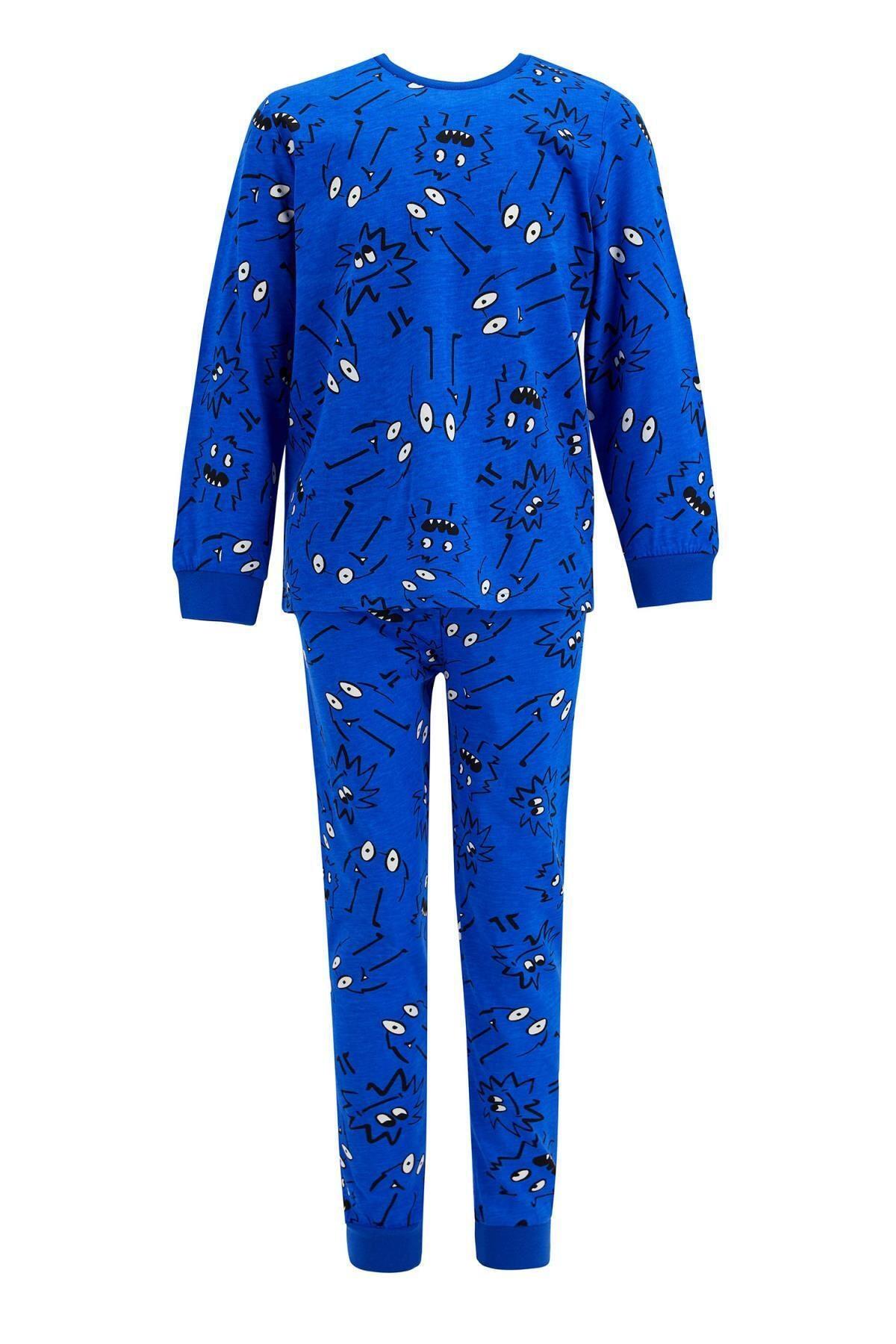 DeFacto Erkek Çocuk Baskı Desenli Uzun Kol Pijama Takım 1