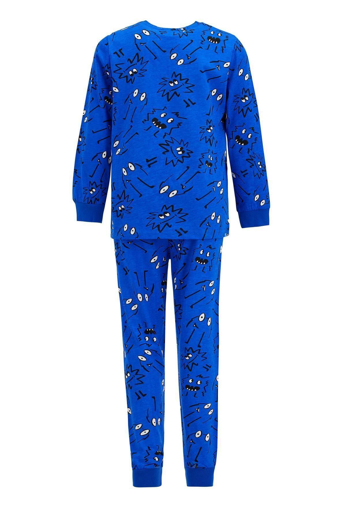 DeFacto Erkek Çocuk Baskı Desenli Uzun Kol Pijama Takım 2