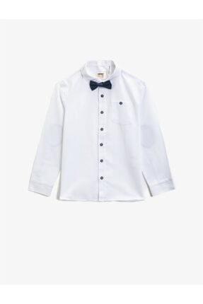 Koton Erkek Çocuk  Beyaz Pamuklu Papyonlu Klasik Yaka Uzun Kollu Gömlek