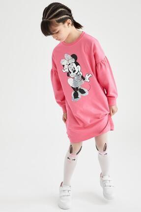DeFacto Kız Çocuk Pembe Minnie Mouse Lisanslı Payetli Pamuklu Elbise