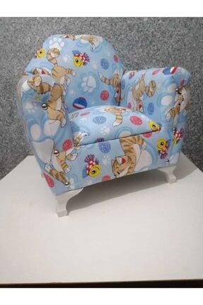 Lotus Ayaklı Çocuk Koltuğu Çocuk Odası Mobilya Mavi Kedili