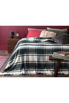 English Home Mackenzie Simli Pamuklu Tek Kişilik Battaniye 150x200 Cm Yeşil