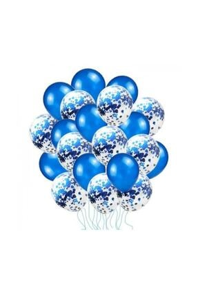 BalonEvi Mavi Konfetili Balon Seti - 20 Adet