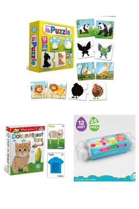 Altıngöz Oyuncak 3 Lü Eğitici Set (ilk Puzzle-dokun Hisset Kartlar-12 Li Yumurta Eşleştirme)