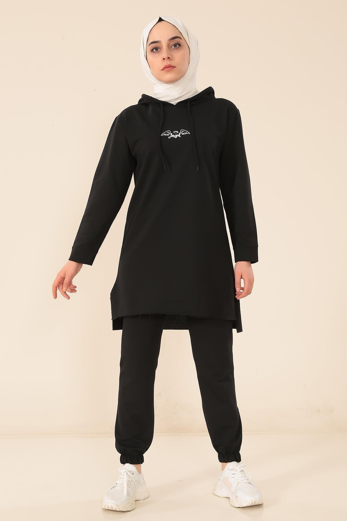 MODA GÜLAY Angel Baskılı Kapşonlu Pantalonlu Takım 2