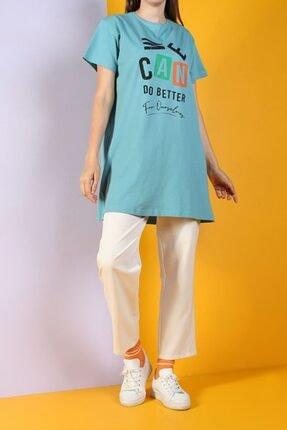 ALLDAY Kadın Cam Göbeği Baskılı Kısa Kol T-shirt
