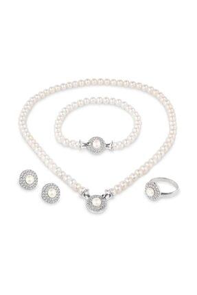 Chavin Kadın Beyaz İnci Gümüş Kolye Küpe Bileklik Yüzük Takım cp90