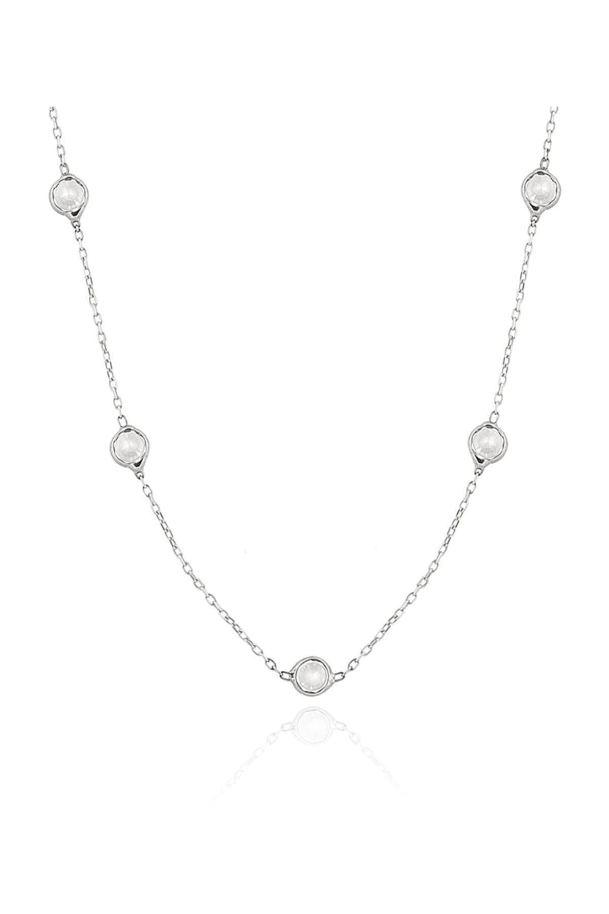 Chavin Kadın Tiffany Sıra Taşlı Uzun Zincir Gümüş Kolye Db73 1