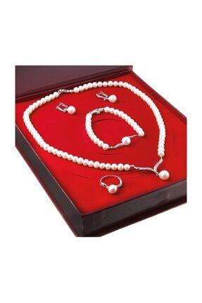 Chavin Kadın Beyaz İnci Gümüş Kolye Küpe Bileklik Yüzük Takım Set ds38