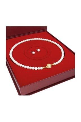 Chavin Kadın Beyaz 925 Ayar Gümüş Uçlu Doğal İnci Kolye Küpe Seti dz48sr