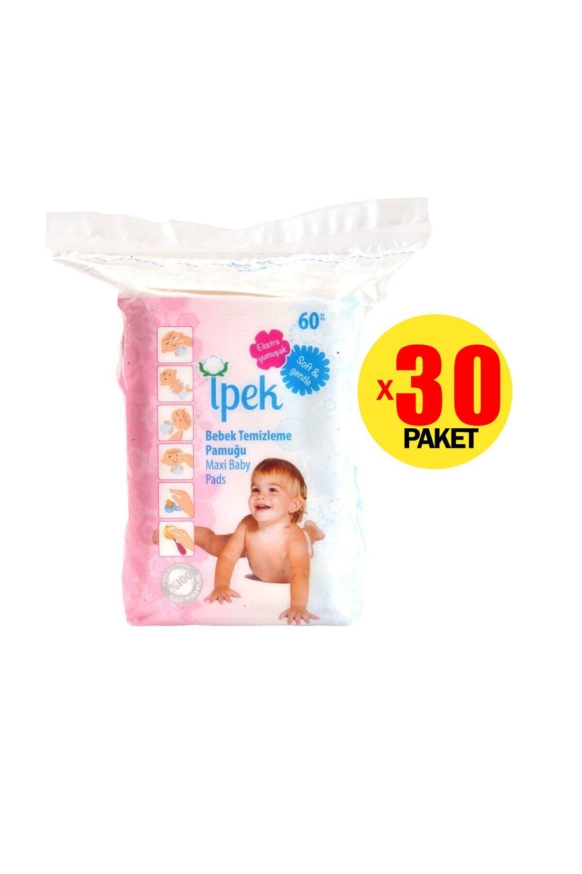 İpek Bebek Temizleme Pamuğu 60'lı 30 Paket 2