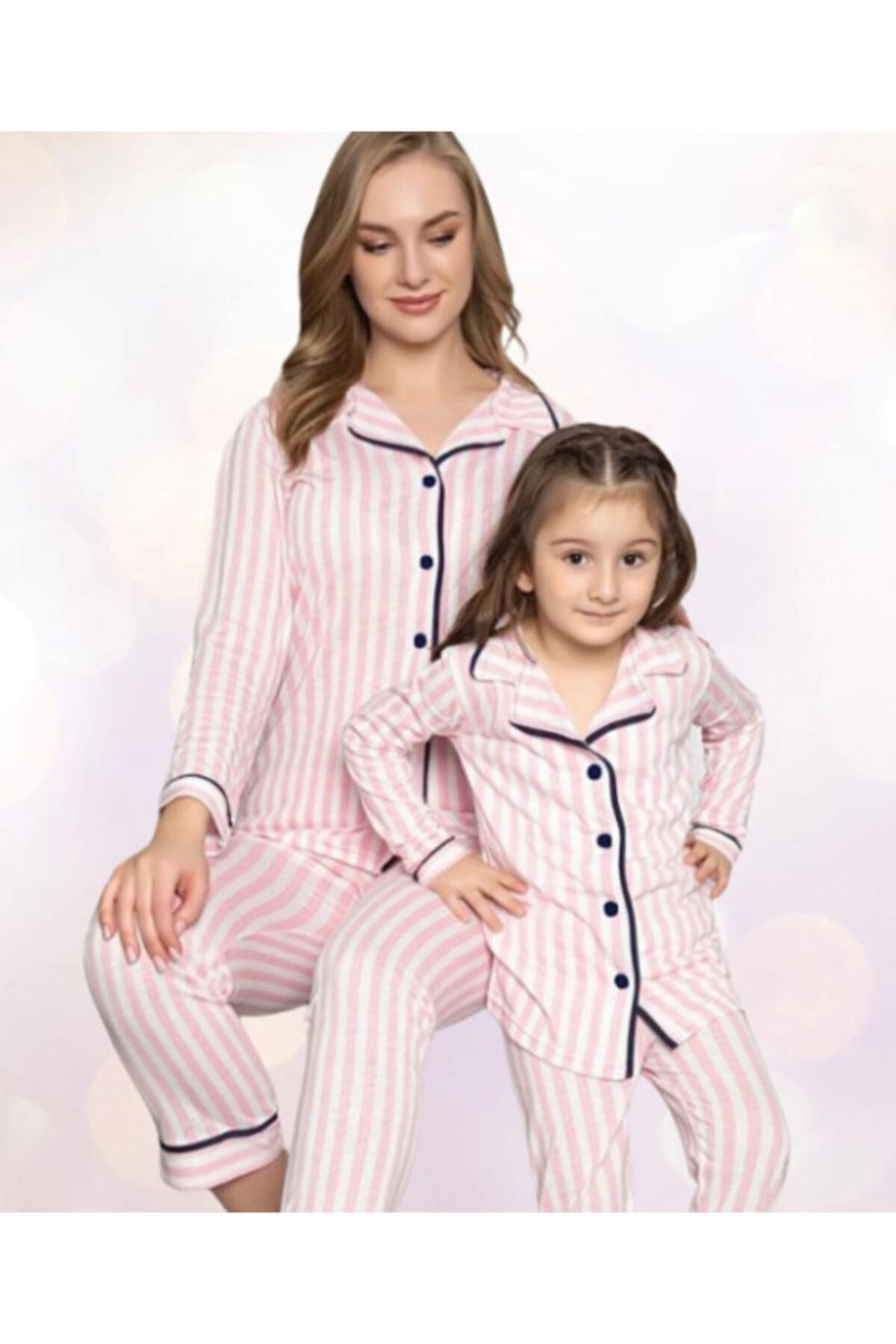 POLATYILDIZ Anne Kız Pamuk Pembe Pijama Takımı 1