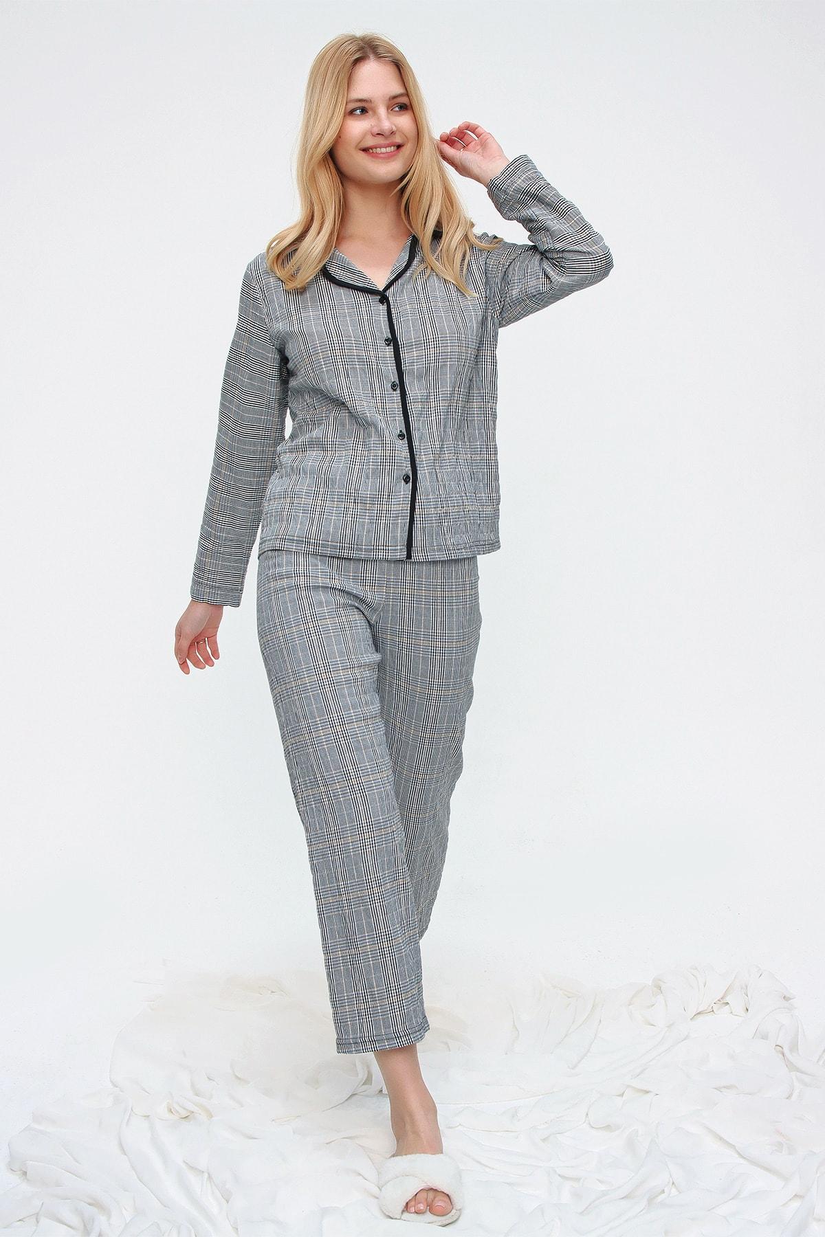Trend Alaçatı Stili Kadın Siyah Ekose Desenli Gömlek Yaka Pijama Takım ALC-X5532 2
