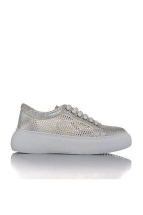 İnci Kadın Gümüş Vegan Kırışık/file Bağcıklı Klasik Spor Ayakkabı -i3023