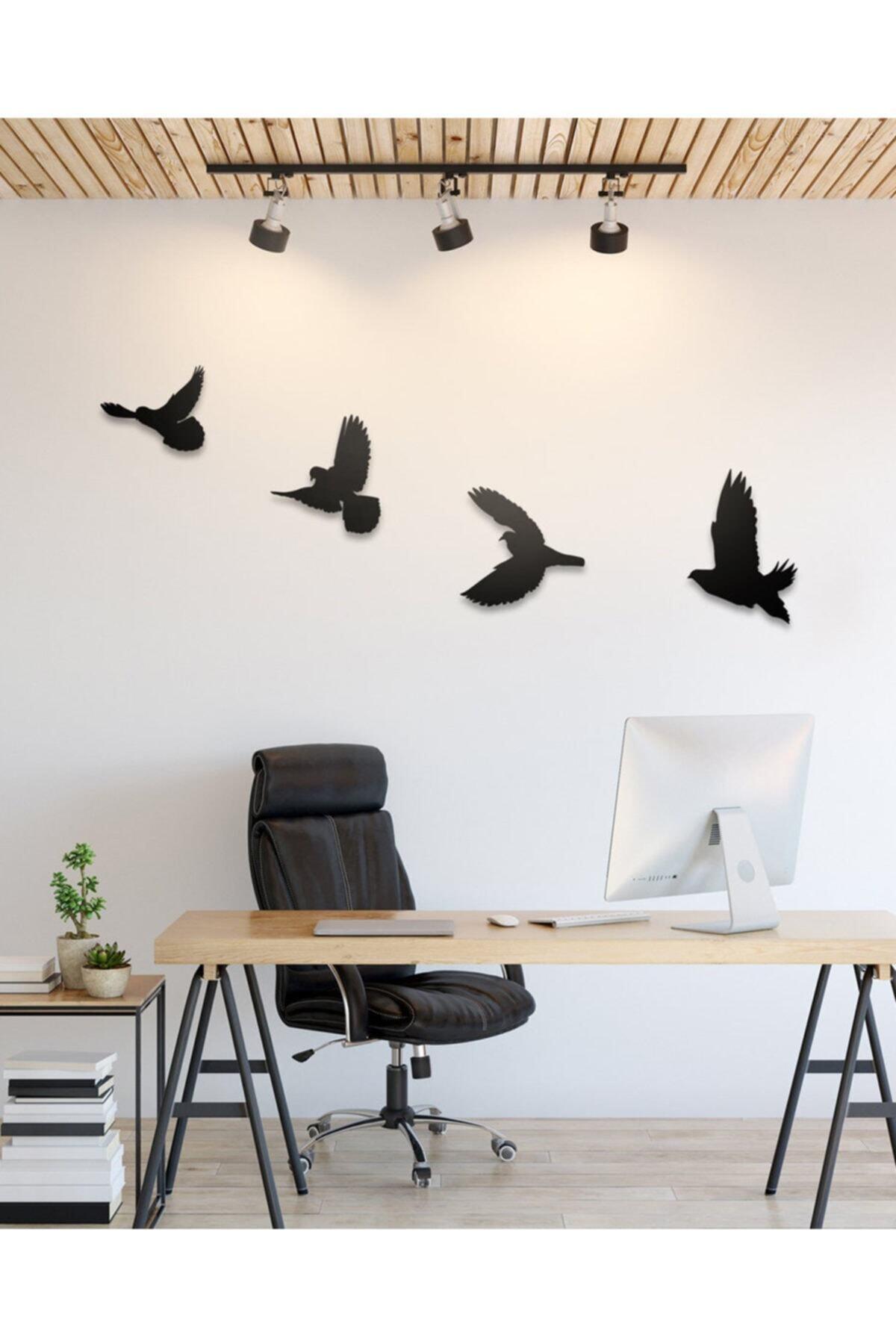 Ahşap Design Dekoratif Ahşap Modern Dörtlü Kuş Duvar Süsü Duvar Dekor 2