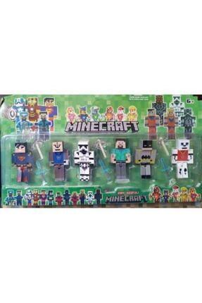 MINECRAFT Süper Kahramanlar 6 Lı Figür Set Süperman, Batman, Steve 6 Figür Ve Aksesuarlı 12 Parça