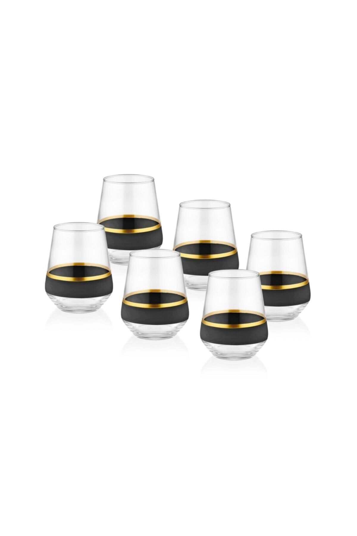 The Mia Glow Su Bardağı 6'lıı Set - Siyah & Gold 1