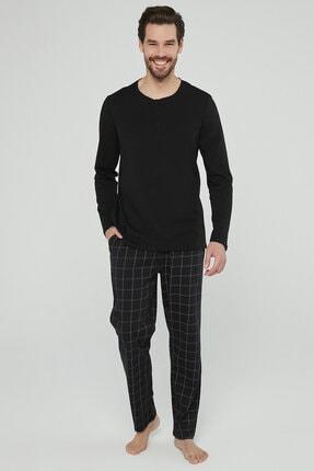 Penti Siyah Dark Checked Pijama Takımı