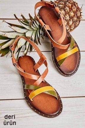 Bambi Hakiki Deri Sarı Kadın Sandalet L06850813