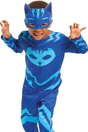 mybebish Pj Mask-pijamaskeliler Kedi Çocuk Fermuarlı Kostümü Catboy Çocuk Kostümü