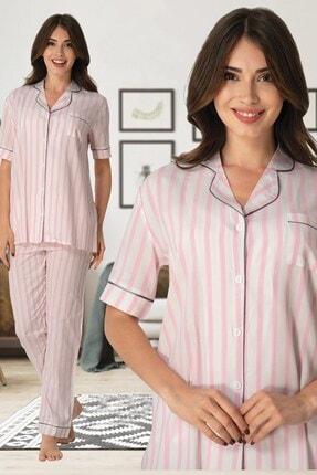 Effort Pijama Effortt 8065 Pembe Çizgili Önden Düğmeli Lohusa Pijama