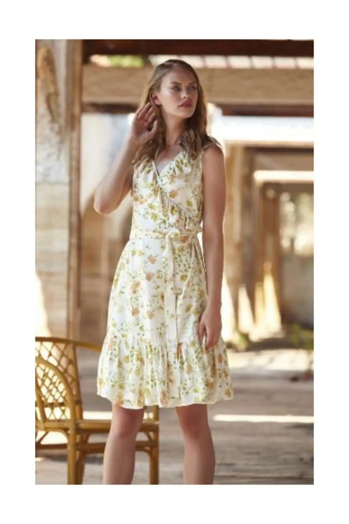 Penyemood Penye Mood 8752 Kadın Sarı Çiçek Desenli Elbise 1