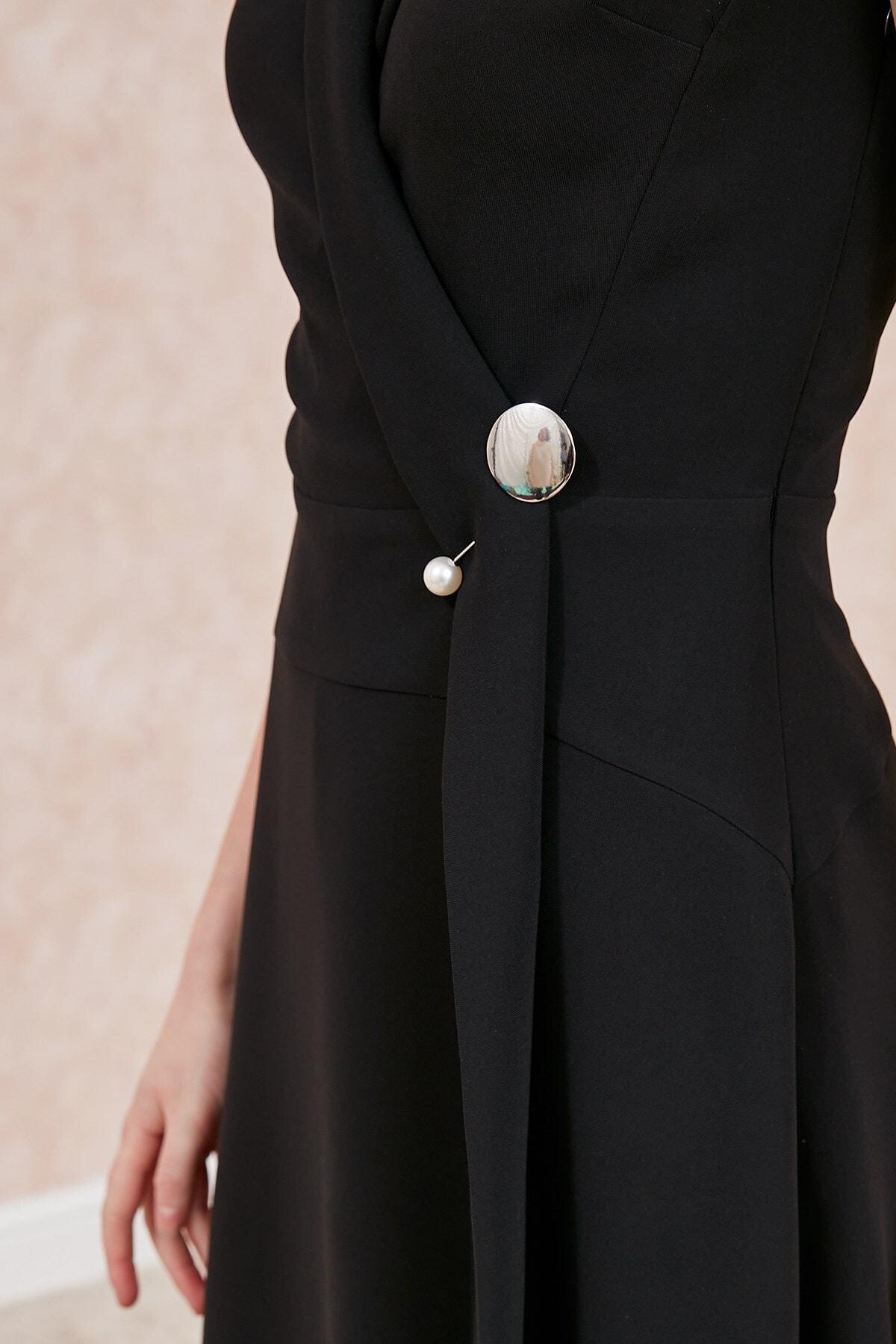 Journey Elbise-şal Yaka, Sol Beden Üstü Inci Broş Detaylı, Evaze Kolsuz 2