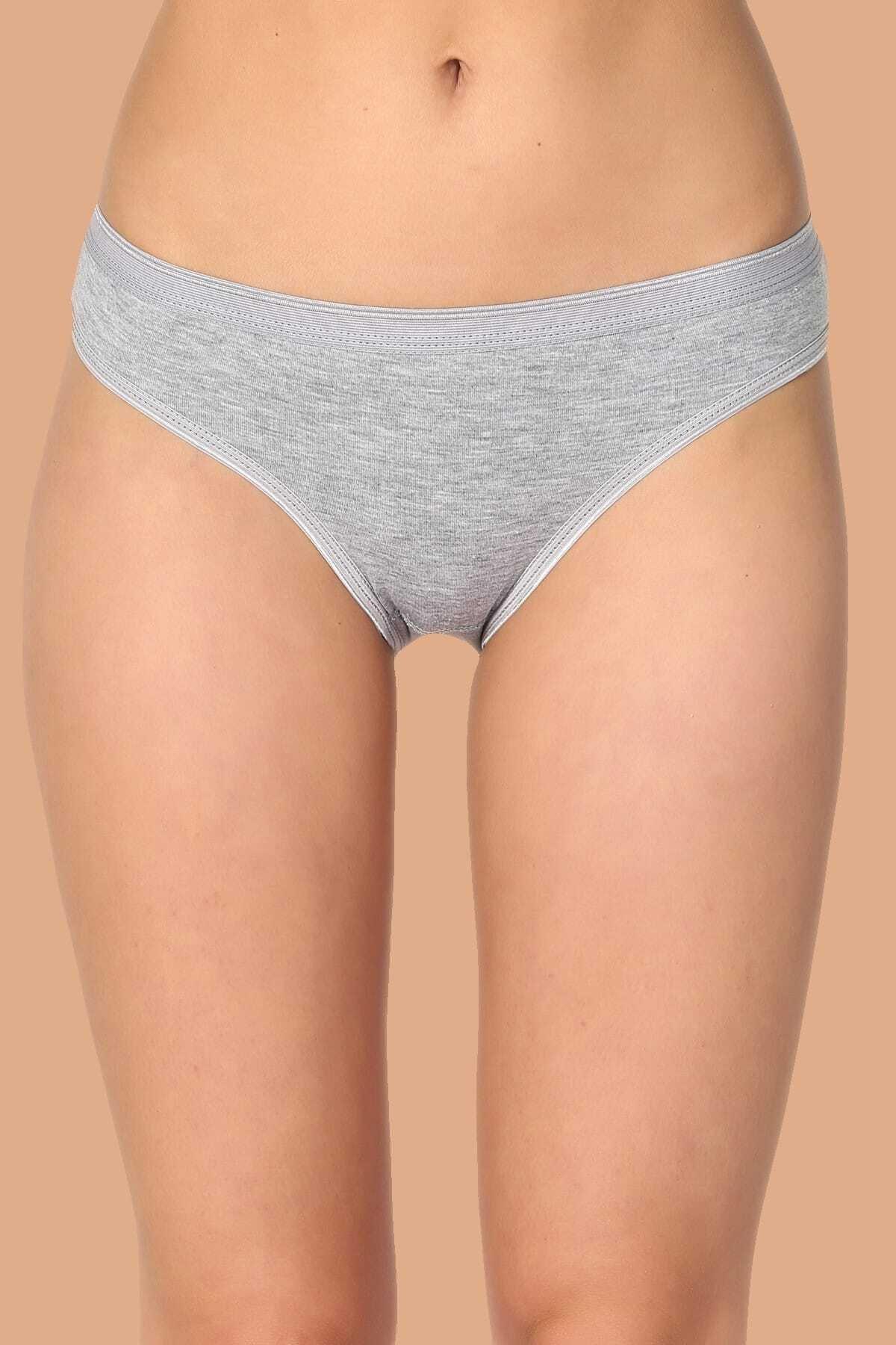 Tutku Kadın Gri 6'lı Paket Pamuklu Su Yolu Bikini Külot 1