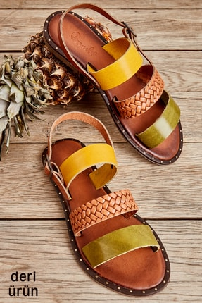 Bambi Yeşil/taba/sarı Kadın Sandalet L0685082603