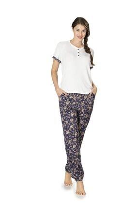 Pierre Cardin Kadın Ekru Kısakol Pamuklu Pijama Takımı