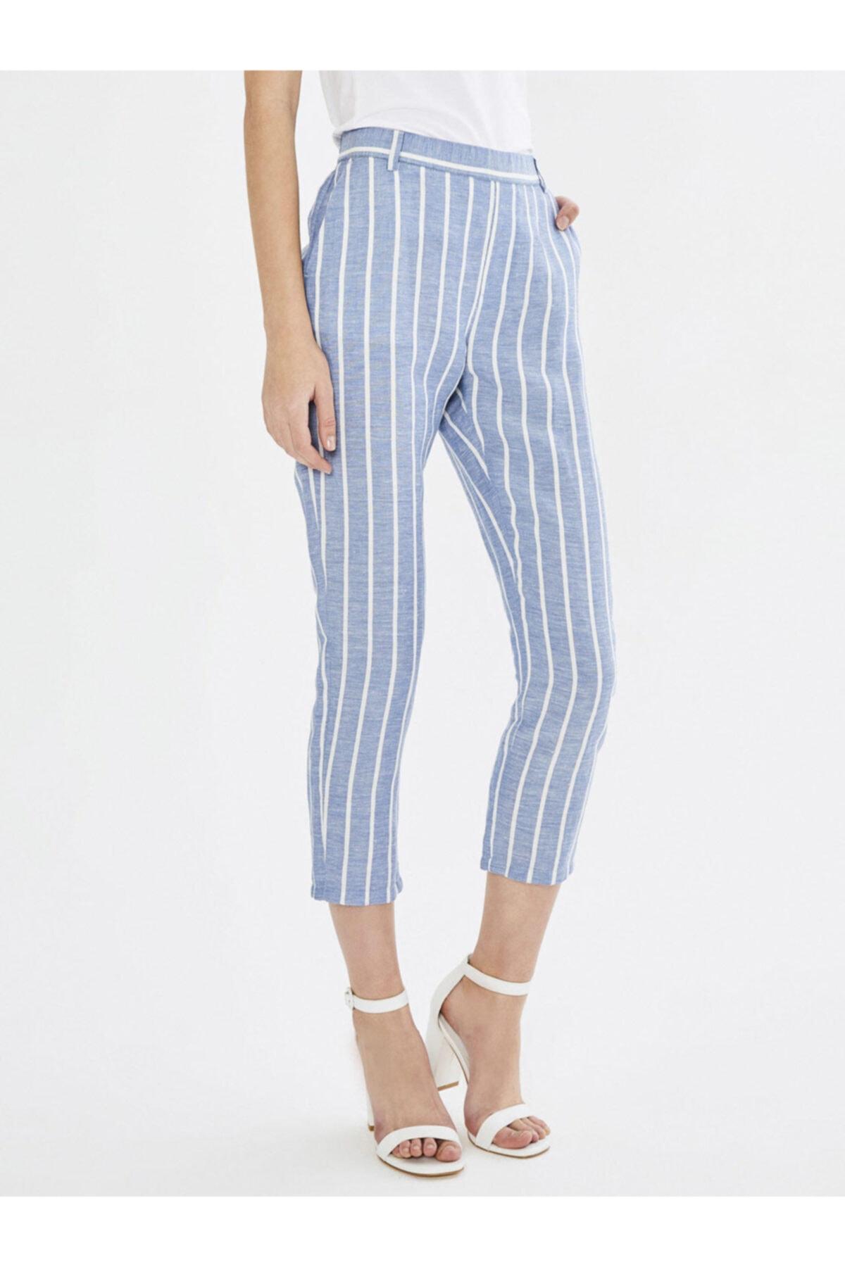 Xint Xınt Yüksek Bel Çizgili Keten Rahat Kesim Pantolon 1