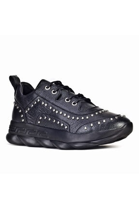 Cabani Metal Aksesuarlı Light Taban Bağcıklı Klasik Kadın Ayakkabı Siyah Naturel Floter Deri