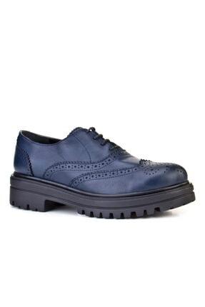 Cabani Bağcıklı Yüksek Taban Kadın Ayakkabı Lacivert Deri