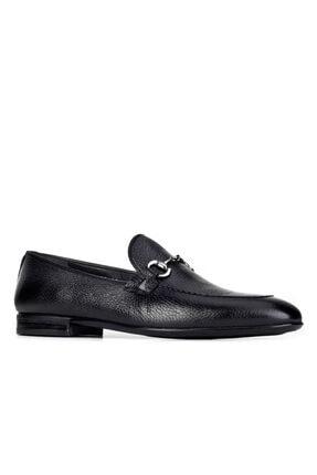 Cabani Toka Aksesuarlı Geyik Derisi Kaymaz Taban Loafer - Erkek Ayakkabı Siyah