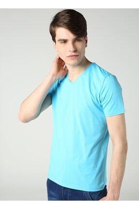 LTC Jeans Erkek V Yaka Likralı Basic Turkuaz T-shirt