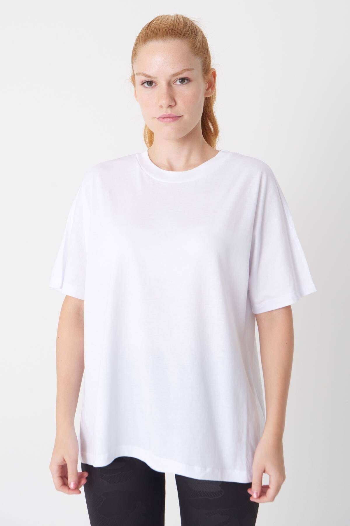 Addax Kadın Beyaz Oversize Basic Tişört P0730 - J6 - J7 ADX-0000020569 1