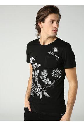 LTC Jeans Bisiklet Yaka Çiçek Baskılı Cep Detay Erkek Siyah T-shirt