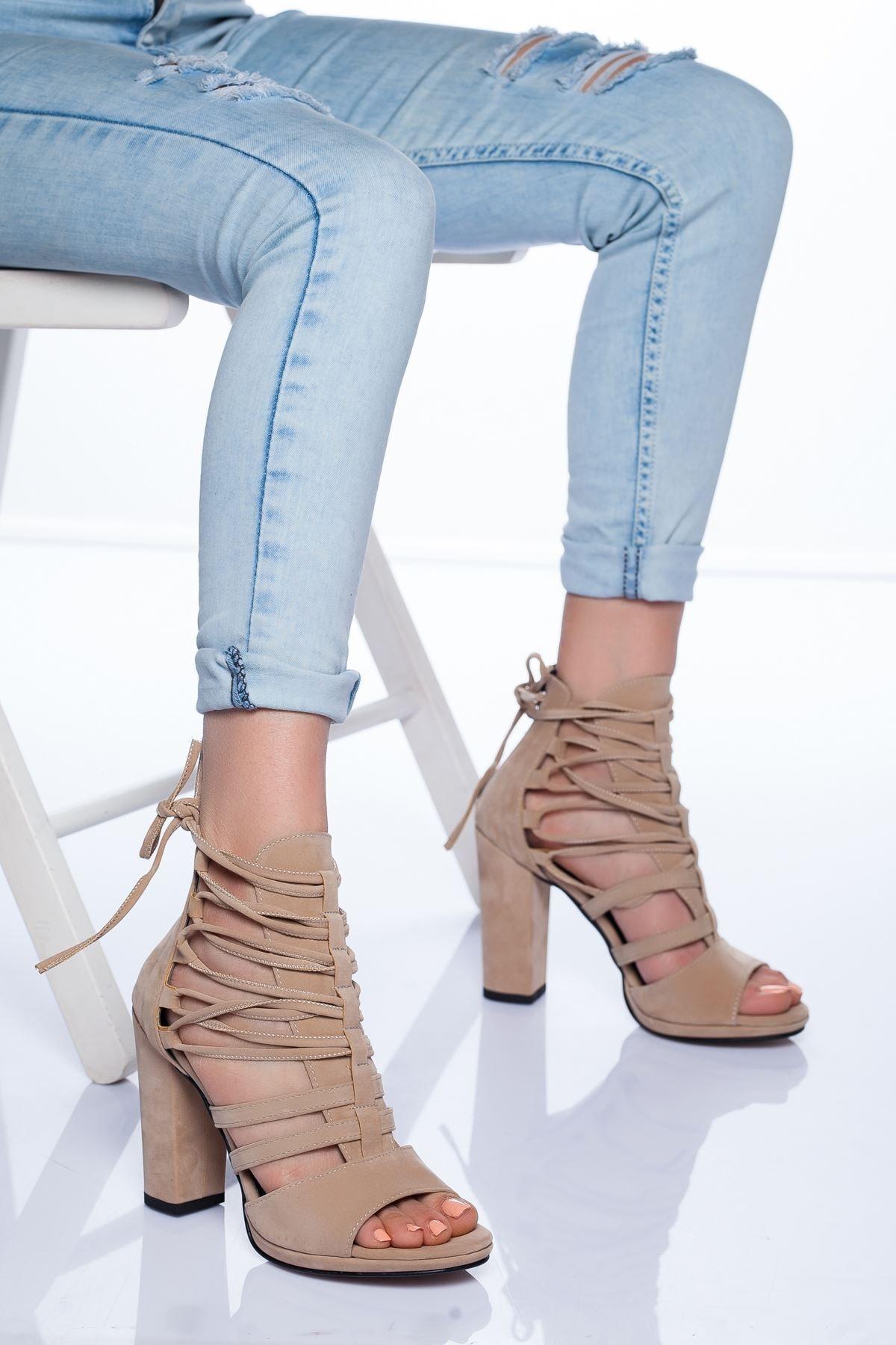Ayakkabı Frekansı Petra Topuklu Ayakkabı Ten Süet 1