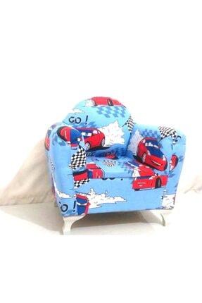 Sedef Çocuk Koltuğu Sandalye Mobilya Tekli Koltuk Mavi Arabalı