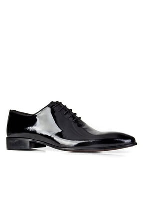 Cabani Bağcıklı Damatlık Klasik Erkek Ayakkabı Siyah Rugan