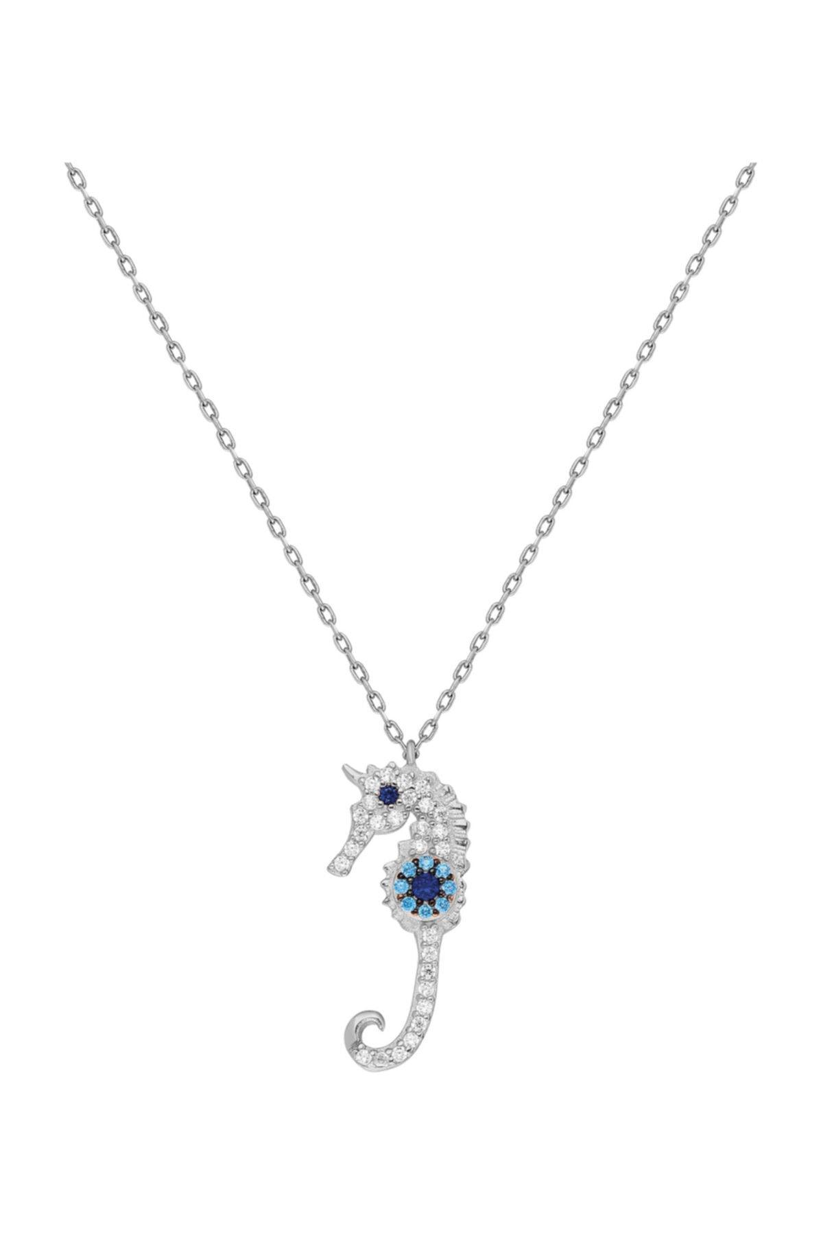 Chavin Taşlı Denizatı Nazar Gümüş Bayan Kolye Küpe Seti Ee80by 2