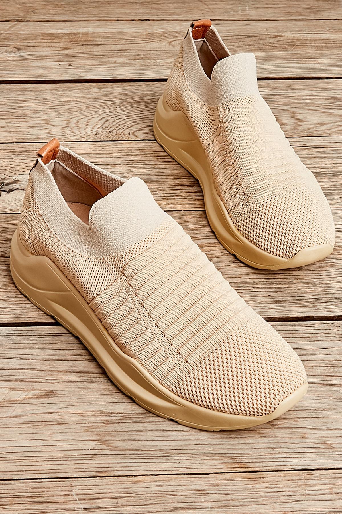Bambi Acık Bej Kadın Sneaker L0673450582 1
