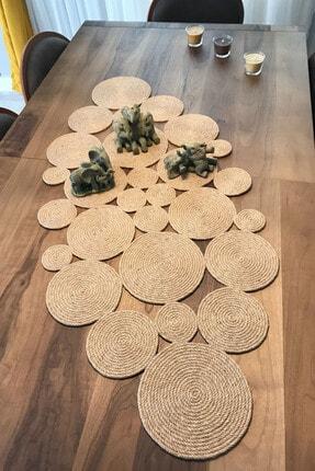 Homever Olva Hasır Jüt Salon Mutfak Masa Örtüsü / Runner / Ranır 90x40cm