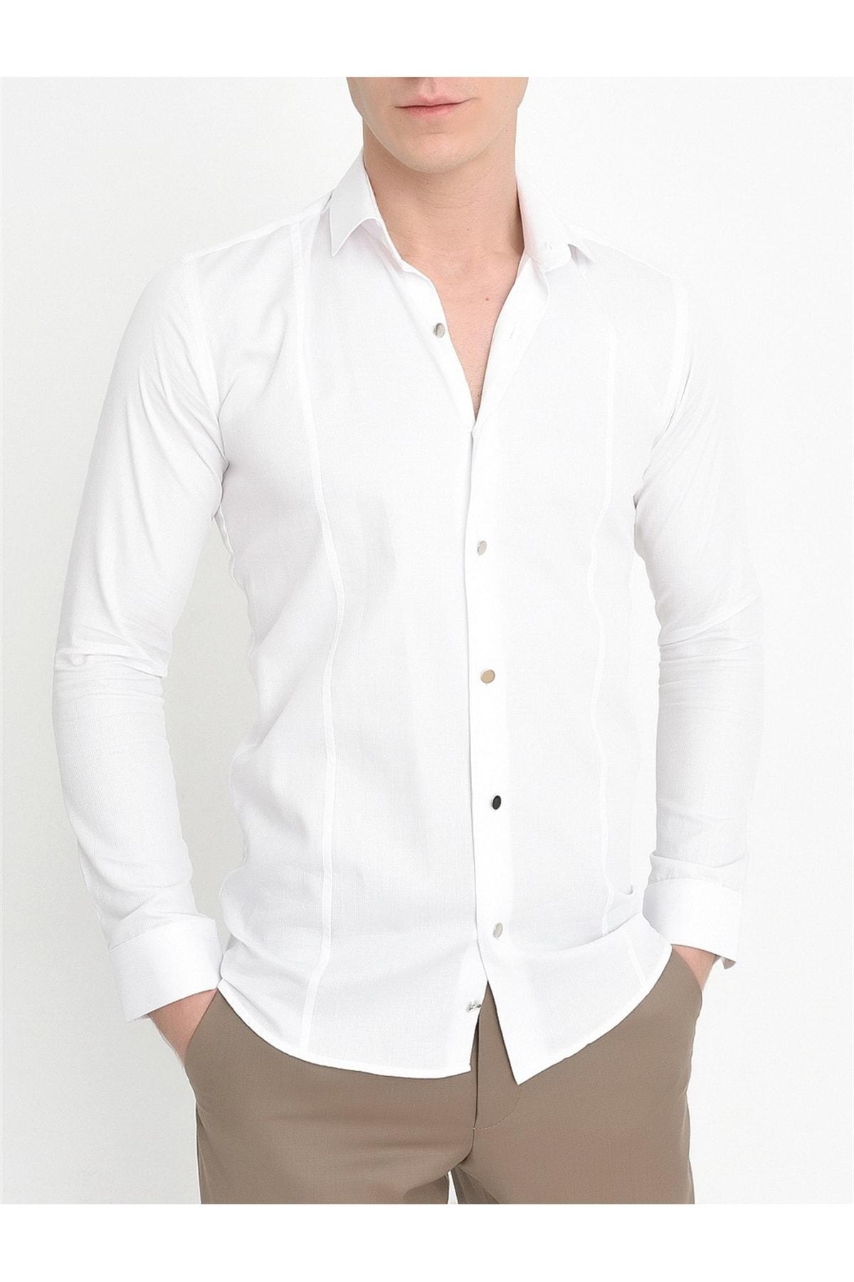 Efor G 1401 Slim Fit Beyaz Spor Gömlek 1